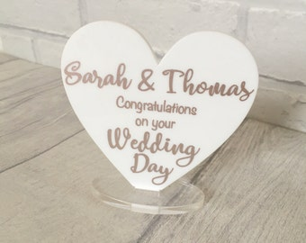 Personalised Wedding Congratulations Card Gift, Wedding Card, Wedding gift, On Your Wedding, Acrylic Heart