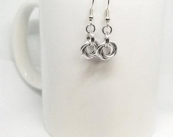 Sweet Lovely Knot Rosette Dangle Earrings in Silver