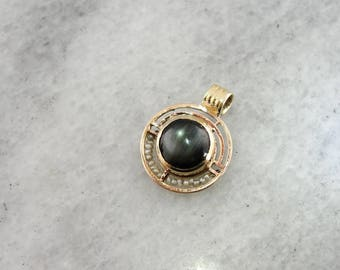 Sillimanite Pendant. Seed Pearl and Sillimanite Pendant, Modernist Gold Pendant N621QA-R