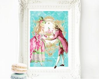 Marie Antoinette, romantic couple, French art print, macarons, cake print, vintage decor, let them eat cake, A4 giclee