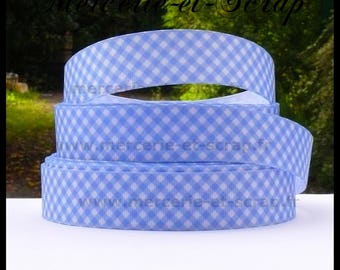 Blue white gingham baby birth 25mm grosgrain Ribbon sold by the meter