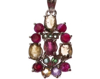Silver pendant with Ruby, Peridot and Emerald