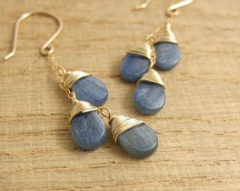 Earrings with  Cascades of Kyanite Quartz Teardrops Wire Wrapped with 14 K Gold Filled Wire to 14 K Gold Filled Cable Chain GCE-8