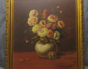 Antique old vintage artist signed original floral still life oil painting bouquet of flowers chrysanthemums