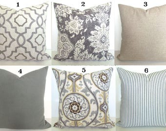 GRAY PILLOWS TAN Throw Pillow Covers Grey Pillows Grey Throw Pillow Covers Gray Pillow Covers Tan & Grey Pillows 16 18x18 20 All Sizes