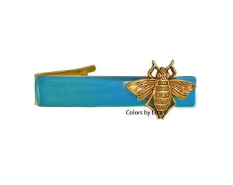 Gold Honey Bee Tie Clip Inlaid in Hand Painted Glossy Turquoise Enamel Classic Tie Bar Accent Assorted Colors and Personalization Available