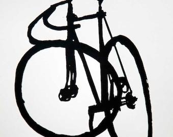 Classic Track  Bike- Fixie- Mock Brush Ink Drawing - Bicycle Art Print - Bicycle Art Print- Bike Wall Art - Bicycle Painting - Cycling Decor