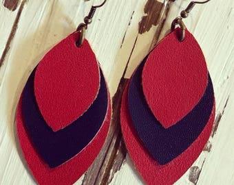 Red & Navy Faux Leather Earrings - Faux Leather Earrings - Lightweight Earrings - Handmade Jewelry - Bohemian Earrings - Spring Earrings