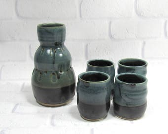 Whiskey Cups Set - Sake Set - Espresso Cups - Whiskey cups and bottle - Sake Bottle and cups - Barware set