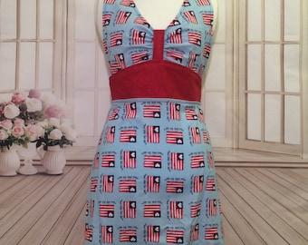 Women's apron, American Flag apron, 4th of July apron, God bless America apron, red white and blue, flirty apron, cute apron, kitchen apron