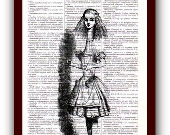 Alice in Wonderland Home Decor  Art Print: upcycled dictionary pages  musical Notes Art Print