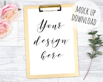 Gold Clipboard Mockup Styled With Flowers, Stationery Mock Up Photography, Digital Clipboard