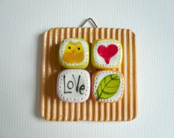 small ceramic block with OWL-small picture to hang with miniature OWL-OWL-ceramic plaque-little OWL