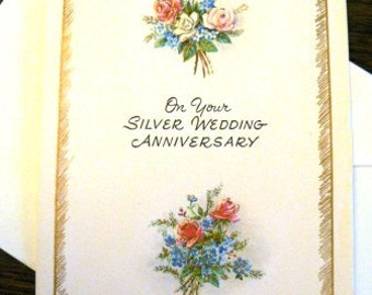 vintage cards ... SILVER ANNIVERSARY Card with envelope...