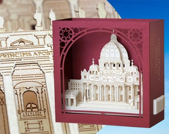 Saint Peter's Basilica, Rome, Papal Basilica of St. Peter in the Vatican, Paper scale model Architecture Model, Kirigami miniature art
