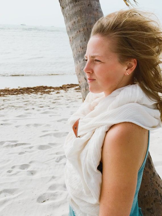 Reserved for Amanda* White light weight cotton blanket scarf with leather detail
