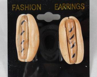 Hot Dog in Bun Food Earrings  - 1 inch- pierced