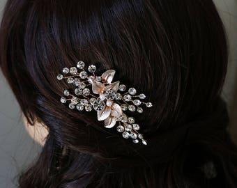 Rose Gold Leaf Hairpin, Swarovski crystal rose gold wedding hair pin, rose gold hair pin, pearl rhinestone hairpin, Aliana Rose Gold Hairpin