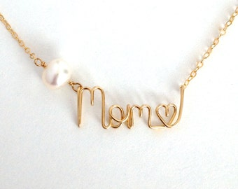 Gold Mom Name Necklace with Pearl and heart. 14k Gold Filled Mother's Day Necklace. Aziza Jewelry