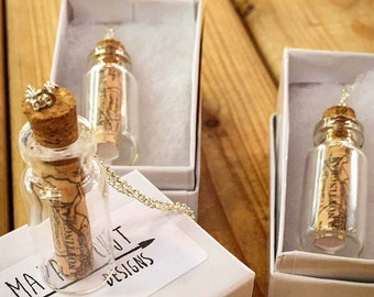 Map in a bottle necklace pendant- custom made- message in a bottle