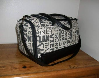 Underseat Bag - World Cities/Black Leather