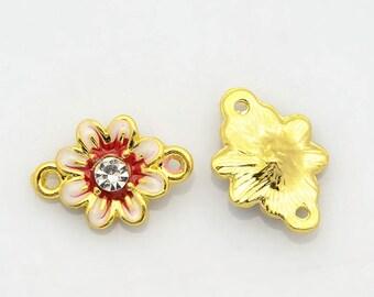 1 connector flower red 2 alloy rhinestone enamel gold 17 X 12 X 4 mm links