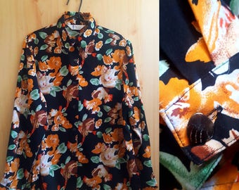 Richness Fashion Floral Blouse || Vintage Women's Shirt || Botanical Print