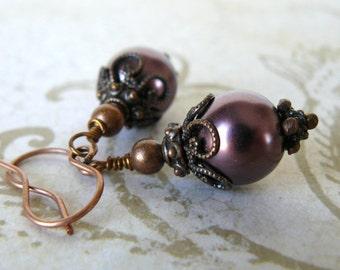 Brown Pearl Earrings Antique Copper Rustic Glass Pearl Dangles Vintage Style Jewelry Rose Brown Romantic Earrings