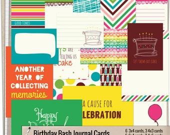 Birthday Bash Journal Cards - Instant Download - Printable journaling cards for Project Life and digital scrapbooking by Mira Designs