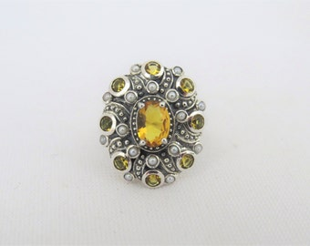 Vintage Sterling Silver Citrine & Seed Pearl Ring Size 6