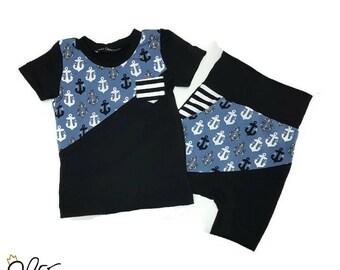 Duo t-shirt et Short ancre ou séparé short et t-shirt, short ancre, t-shirt ancre, short enfant, par MEF Créations Boutique