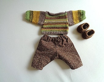 Together, pants, sweater and knitted slippers hands for doll 30 cm