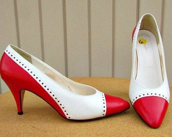 vintage 80s red white leather spectator heels pumps 6m made in italy jacqueline Ferrar