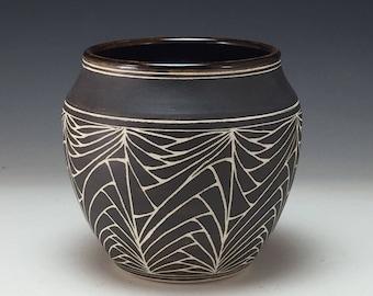 Designed Sgraffito Vase Webb Pottery