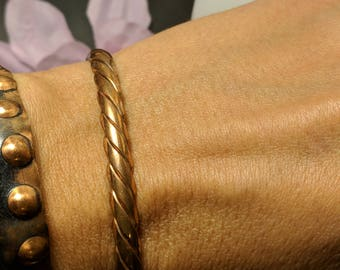 1960s Vintage Boho Braided Solid Copper Cuff Bracelet Retro Midcentury Marked