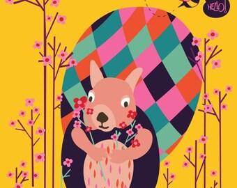 Squirrel nursery art print - Oh Hello - nursery animal art, Child's Room, Baby decor, playroom decor, Toddler Room, Boys Girls Nursery Decor