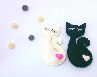 Cute felt cat decor- handmande ornaments - Christmas decoration - nursery room idea - kids - cat-lover