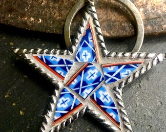 God and Country - Mosaic Star KeyChain, Mosaic Christmas Ornament, Pewter Star-Shaped Pendant - SHIPS FREE to Continental United States