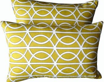 Two Yellow Decorative Pillow Covers made from Robert Allen Fabric