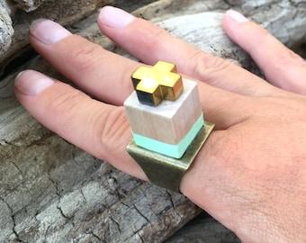 Handmade Wood Block Ring, Boho, Festival, Coachella, Gypsy, Goddess, Sexy, Painted, Big, Statement, Cross, Unique, Fun  (Bubbles Ring)