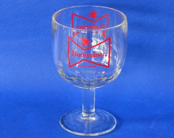 Vintage Budweiser Beer Thumbprint Stemmed Goblet - 14 oz - King of Beers