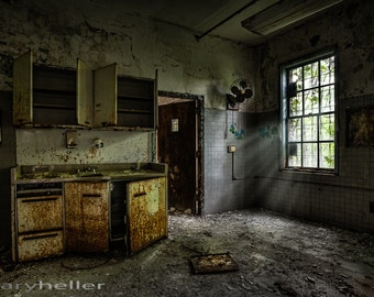 Open Cabinet Doors - Abandoned Asylum, Urban Exploration Color Photography Forgotten Places, HDR, Free Shipping, Signed Print