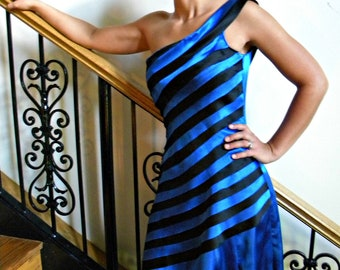 One Shoulder Dress, Bridesmaid Dress, Modest Dress, Party Dress, Short Prom Dress, Blue & Black Dress- custom made in any color