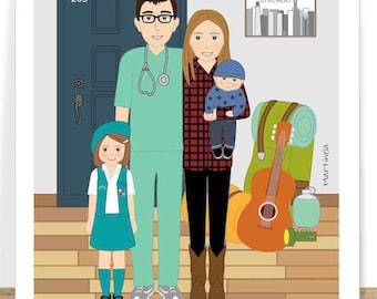 Digital custom family portrait- cartoon portrait- family gift- home decor- gift for husband- Wall Art