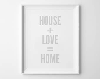 Wall Art Print, Love Sign, Home Decor, Typography Print, Home Wall Art, Scandinavian, Minimalist, House Love Home