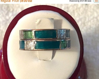 ON SALE Vintage Midi Rings Stackable Over The Knuckle Avon Gold Tone Plated Over Copper Green Size 10-1/4