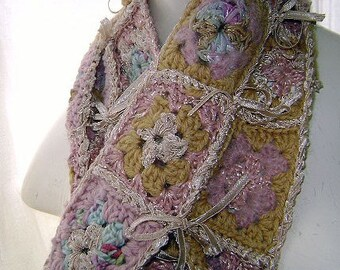 Hand Crochet Scarf 'Let Them Eat Cake' handspun yarn mixed with pure silks, cotton Pure Indulgence