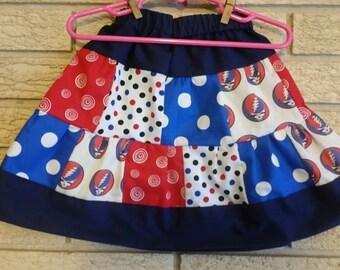 Girls Grateful Dead fabric patchwork skirt