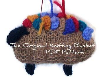 Knit Sheep PDF Pattern Lamb Ornament Pattern Knitting Basket Instant Download Pattern Knit Instructions Brown Sheep Hanging Ornament