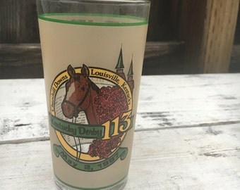 Vintage 1987 Kentucky Derby 113 glass, Churchill Downs Louisville Kentucky, Vintage drinking glass, vintage collectible kitchenwares